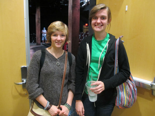 Hannah Whitt and Julia Moran as they arrive at the theatre.