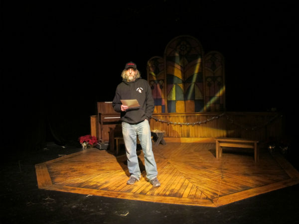 "That's me performing my monologue ""Chalkboard Scribbled in Blood"" at No Shame Theatre on Dec. 14, 2012."