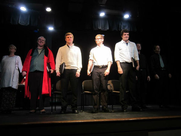 "Curtain call for ""Klaus."" From left: Martha Boswell, Brian O'Sullivan, Kevin McAlexander, Blair Peyton, Will Coleman, xxx"