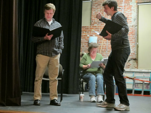 Here's another special effect you'll have to imagine. Will Coleman, playing a college student in the 1700s, carries a torch in the climactic scene. That's one of his fellow classmates, played by Kevin McAlexander, at left.