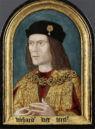 Portrait of Richard III of England, painted c. 1520 (approximate date from tree-rings on panel), after a lost original, for the Paston family, owned by the Society of Antiquaries, London, since 1828. From Wikipedia Commons.