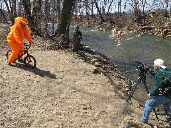 While filming a scene on a sandy bank of the Roanoke River, we encountered fisherman Jamer Preston, who agreed to take part.