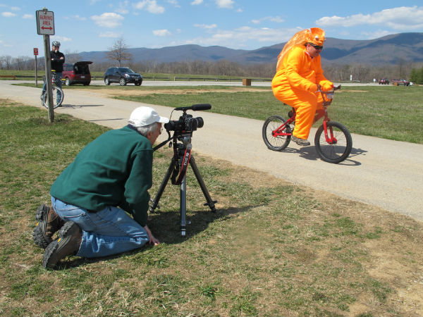 Hank Ebert gets another angle of a goldfish riding a bicycle. You can't have too many.