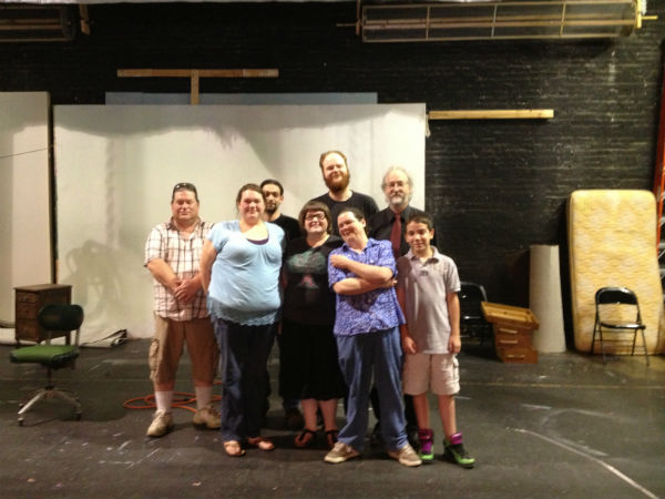 The cast, director and playwright. That's director Beth Brackett in blue, at left. I'm in the back.