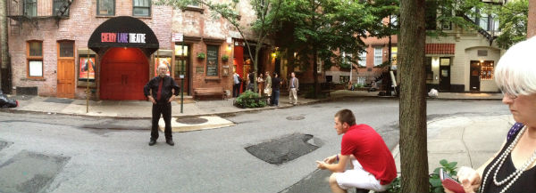 My daughter, Rain, took this panorama shot of me outside the Cherry Lane Theatre. That's Keith and Trina at right.