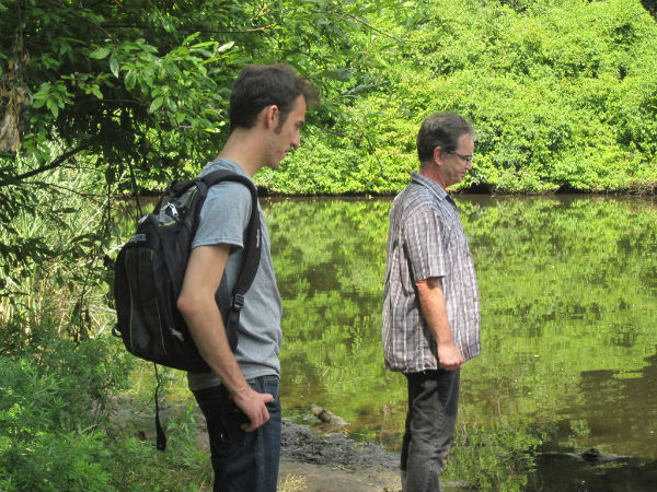 Actors Collin McConnell and Mickey Ryan, looking dubious about the wildlife in the water...