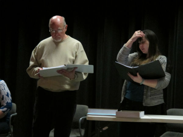 Mr. Barnett (Patrick Kennerly) and Kristin (Kelly Anglim) wait anxiously for news about the missing girl.