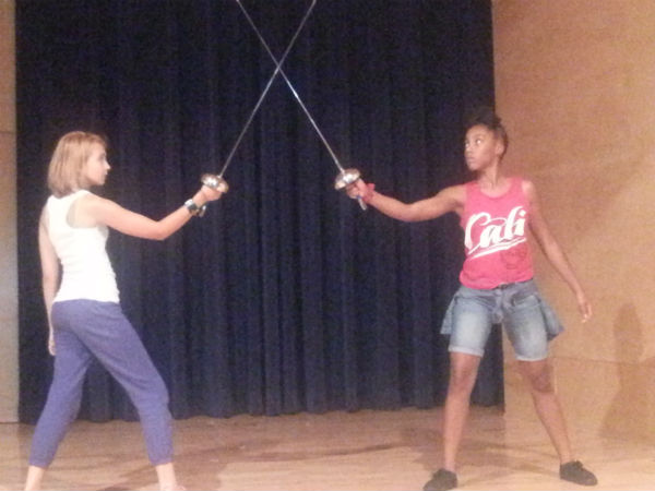 "Hamlette (left) and Laurita (right) in their sword fight at the climax of ""Sweets to the Sweet."""