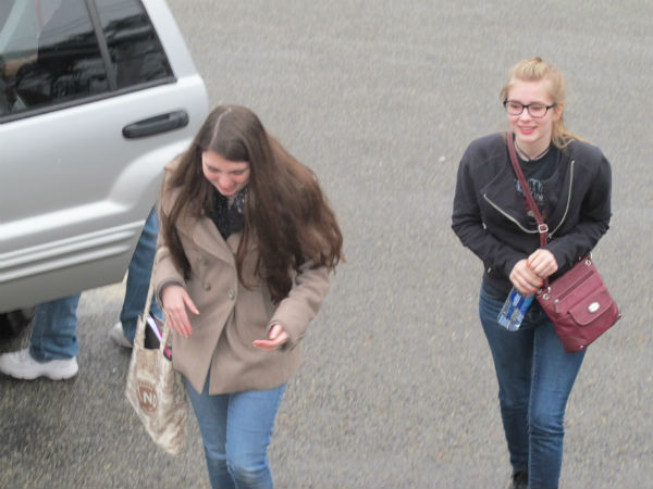 The actors -- in this case, Emma Sala and Gwyneth Strope --  arrive for the 2 p.m. rehearsal.
