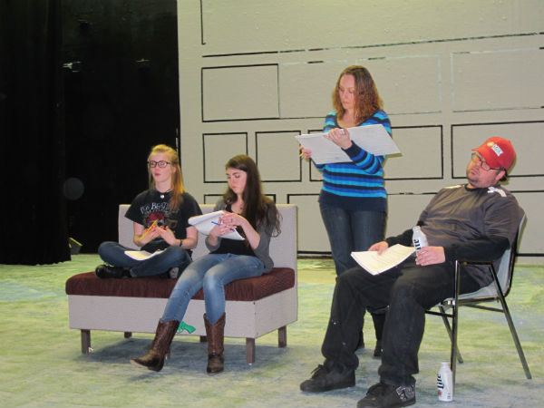 From left: Zelda (Gwyneth Strope) plays video games. Meredith (Emma Sala) wishes she were out shooting. Rhonda (Heather Sexton) plots the next pageant. Zeke (Tim Kennard) -- well, you know about Zeke.