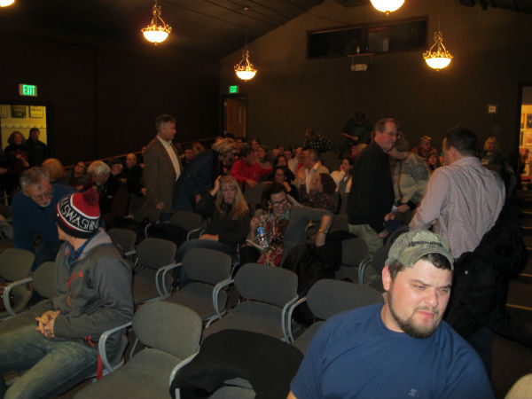 The crowd files in. We had nearly a full house. The man in the black, standing at right, is Congressman Bob Goodlatte.