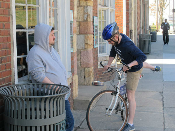 Stephen Glassbrenner eyes Blair's bike. Yeah, that happens.