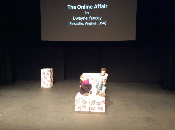 A scene from THE ONLINE AFFAIR at its dress rehearsal.