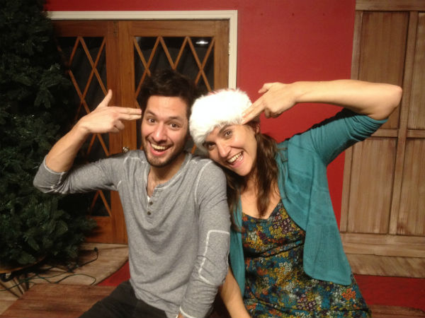 Andres Solorzano and Sumi Folz and Andres Solorzano clowning around on the set of DEATH BY POINSETTIA.