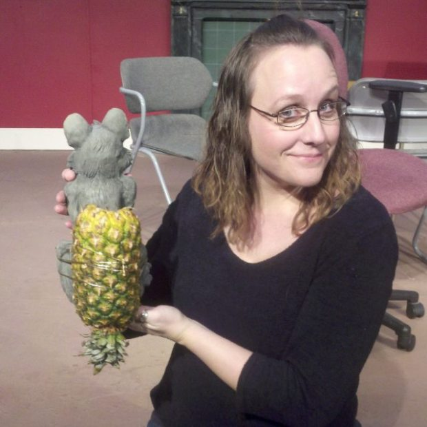 Heather Sexton shows how to make a stage armadillo -- one plastic rat, one pineapple fajita, minus the fajita.