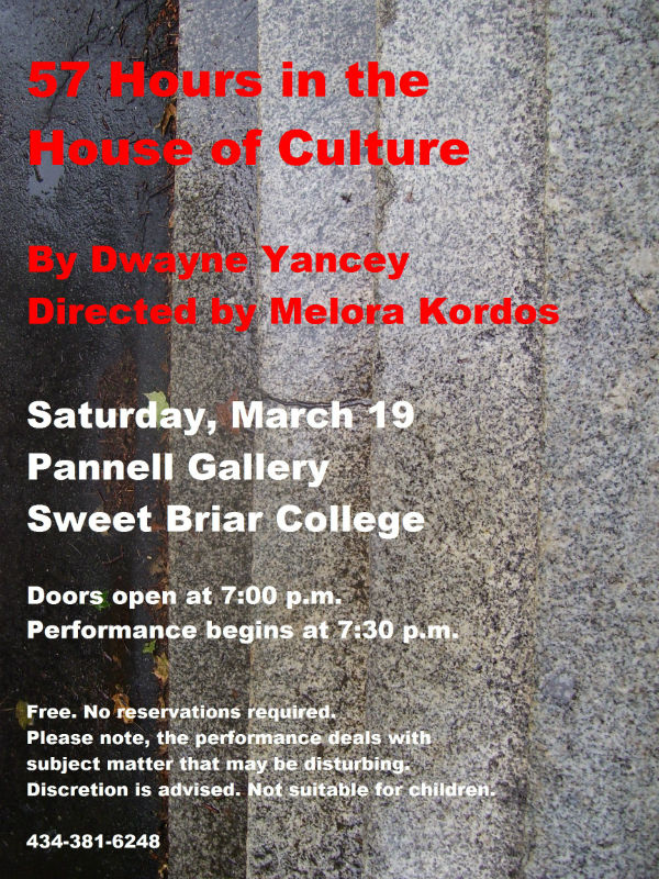 Poster for the Sweet Briar reading.