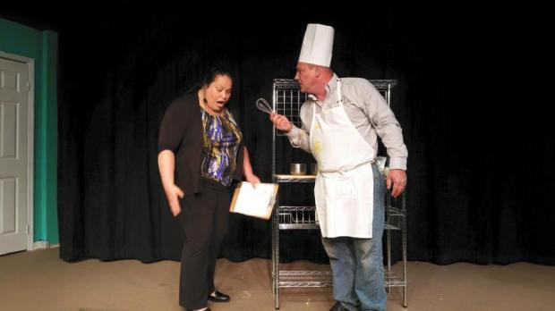 Stephanie Knerr as TV Producer and Larry Pelham as Chef Pierre