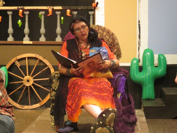 Gypsy Jane, the fortun-teller, in full regalia.