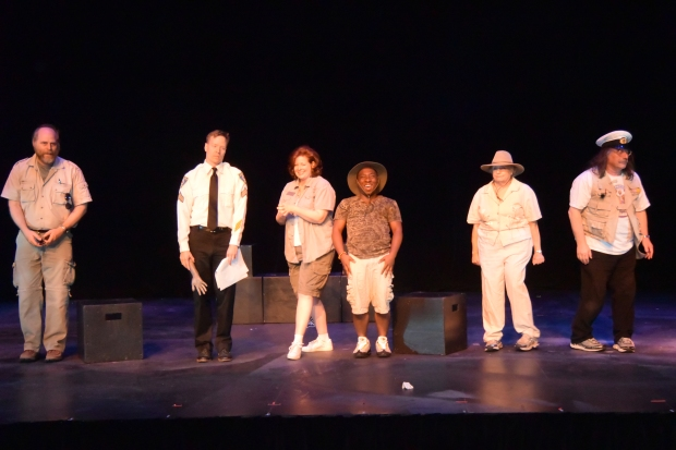 The cast of THE ZOOKEEPER'S ARM. From left, Paul Stober, Nicholas McCord, Amanda Mansfield, Ronald Blanks Jr., Bayla Sussman, and John Bergman. Photo by Susan K.